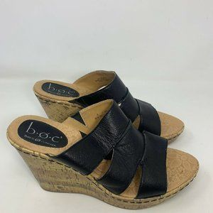 Born Conept Womens Black Leather Wedge Heels Size
